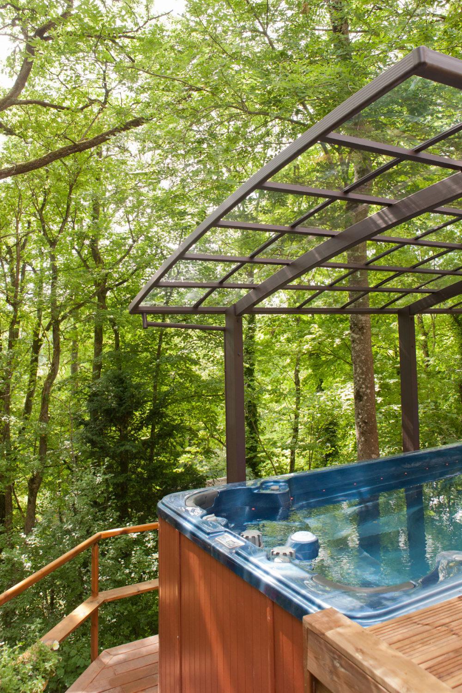 Spa de nage - 6 mètres terrasses lames bois